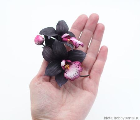 Брошь орхидея темная, черные цветы из фоамирана ручной работы на заказ