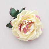 Пион брошь нарядный цветок кремовый большой из атласа