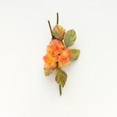 Оранжевая брошь с цветами из шелка, небольшой шелковый букетик цветов