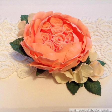 Заколка-зажим с пионовидной розой ручной работы на заказ