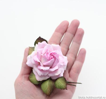 Брошь с розовой розой, нежный цветок из фоамирана ручной работы на заказ