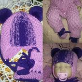 Шапки детские: шапка+пинетки для новорожденной