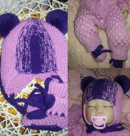 Шапки детские: шапка+пинетки для новорожденной ручной работы на заказ