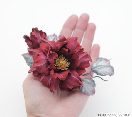 Брошь цветок большой бордовый с серым, цветы из фоамирана ручной работы на заказ