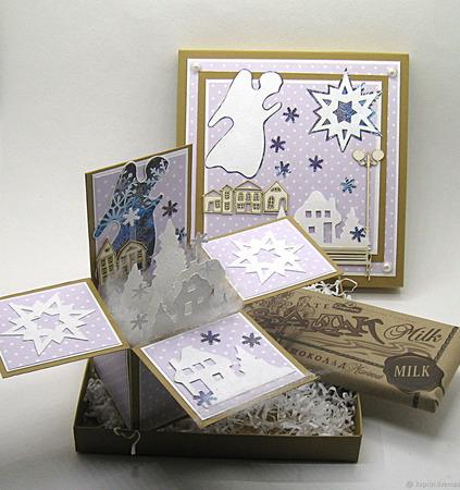 """Раскладная открытка в коробочке """"Снежный Ангел"""" ручной работы на заказ"""