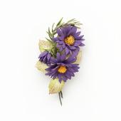 Брошь с цветами мини букетик фиолетовый желтый из фоамирана