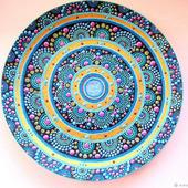 Тарелка интерьерная, точечная роспись