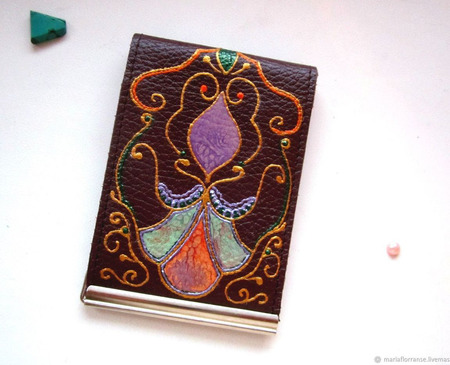 Кошелек кожаный, кошелек-зажим, авторская роспись ручной работы на заказ