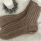 Носки чистошерстяные с козьим пухом вязаные