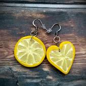 """Ассиметричные серьги """"Лимонные дольки"""""""