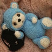 Амигуруми куклы и игрушки:  Мишка с рюкзачком