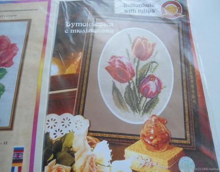 """Набор для вышивки """"Бутоньерка с тюльпанами"""" ручной работы на заказ"""