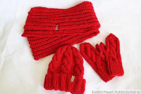 Вязаная шапка, шарф и варежки ручной работы на заказ