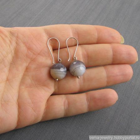 """Серьги """"Doves"""" из серебра с агатом ручной работы на заказ"""