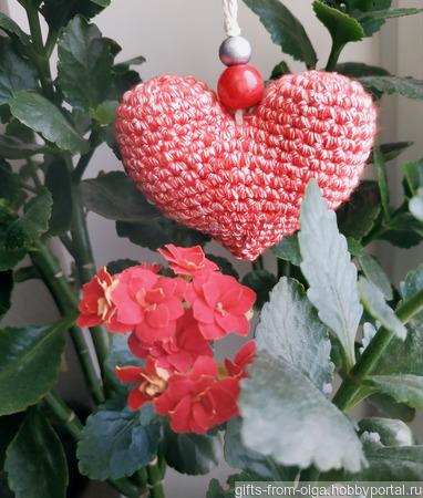 Блестящее вязаное сердечко ручной работы на заказ