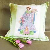 """Наволочка на диванную подушку с ручной вышивкой крестом """"Японка"""""""