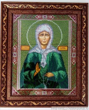 Икона вышитая бисером Матрона Московская ручной работы на заказ