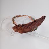 """Браслет """"Перо"""" с кристаллами из Чешского стекла"""