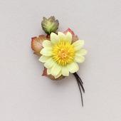 Брошь цветок желтый небольшой плоский повседневный