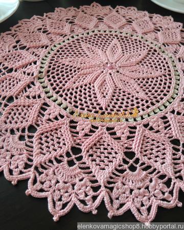 "Салфетка ""Розовый Жемчуг"" ручной работы на заказ"