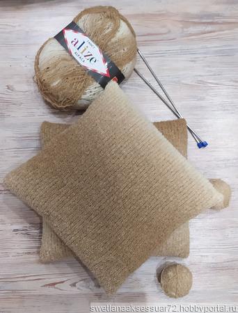 Подушка с декоративным чехлом в бежевых тонах ручной работы на заказ