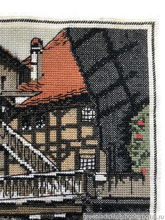 """Вышивка крестом """"Старый дворик"""" ручной работы на заказ"""