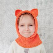 """Детская вязаная шапка капюшон с ушками """"Лисичка"""""""