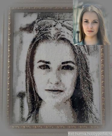 Вязаный портрет с бисером ручной работы на заказ