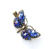Заколка-зажим Бабочка (синяя)