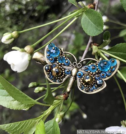 Заколка-зажим Бабочка (комбинированная, бронзово-голубая) ручной работы на заказ
