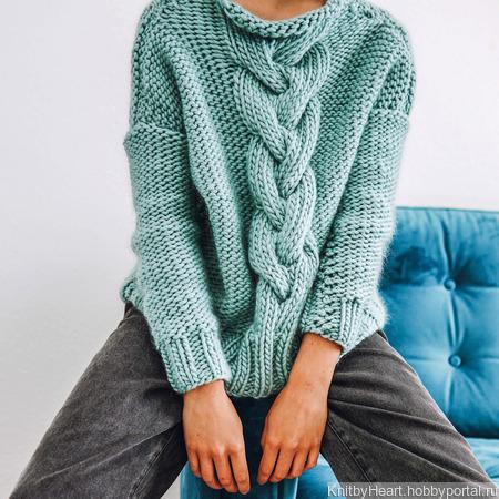 Модный вязаный свитер крупной вязки ручной работы ручной работы на заказ