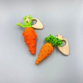 """Деревянный грызунок-погремушка """"Морковка"""""""