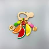 Деревянный грызунок-погремушка фруктово-ягодный