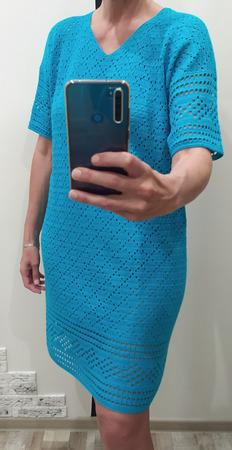 Платье - туника в бирюзовом цвете ручной работы на заказ