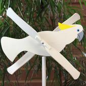 """Деревянная игрушка флюгер для сада """"Белый Попугай"""""""