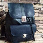 Кожаный рюкзак сине-черный