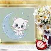 """Схема для вышивки """"Котик на Луне"""""""
