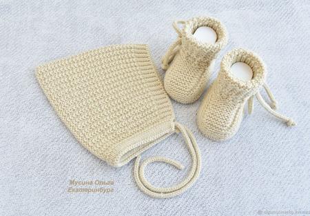 Чепчик и пинетки  для малыша ручной работы на заказ