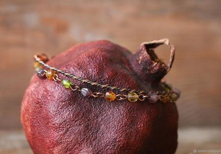 Браслет-цепочка из меди и стекла «Фонарики» ручной работы на заказ