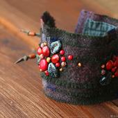 Браслет-манжета текстильный «Брусника»