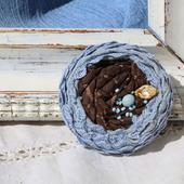 Комплекты украшений текстильные броши «Незабудки»