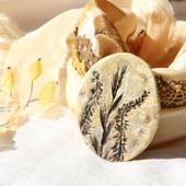 Комплект украшений из шелка и полимерной «Проталинки»