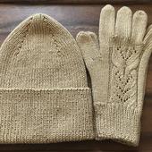 Комплект «Оттепель» шапка бини и перчатки