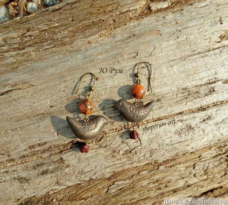 """Серьги """"Птички"""", полимерная глина, бронза ручной работы на заказ"""