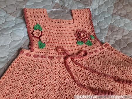 Летнее платье «Персиковое настроение» для девочки ручной работы на заказ