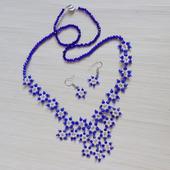 """Ожерелье и серьги """"Незабудки"""""""