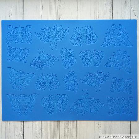 Силиконовый коврик Бабочки, для айсинга, шоколада, марципана ручной работы на заказ