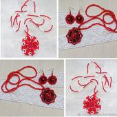 Кулон с серьгами Красное - черное и Аленький цветочек
