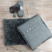 Уютный дом. Подушка с декоративным чехлом в сером цвете