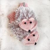 Варежки ёжики розовые с серой шубкой